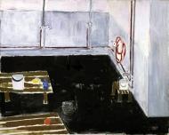 Interiør, 1986-88, 120x150cm, akryl og olje - tilhører Nasjonalmuseet