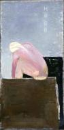 Kvinne vasker seg, 1986-87, 116x68, akryl og olje - tilhører Esso Norge AS
